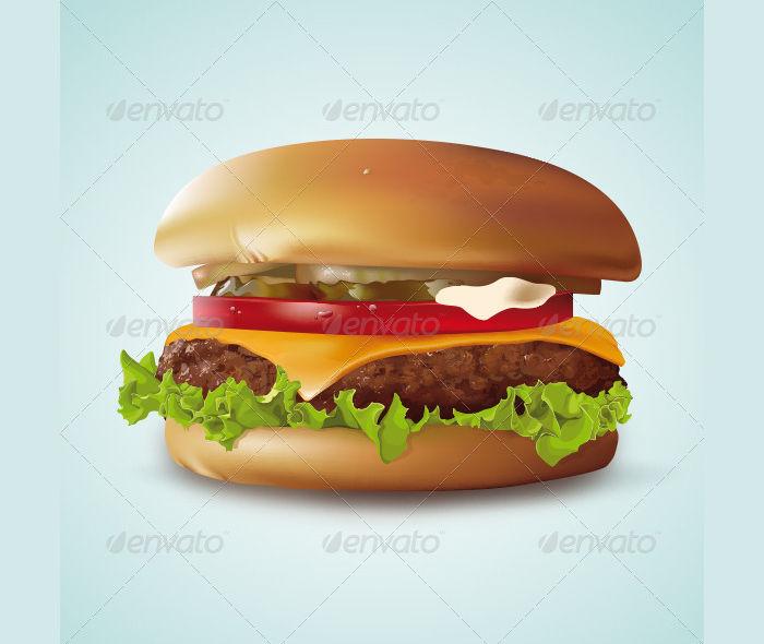 realistic cheeseburger illustration