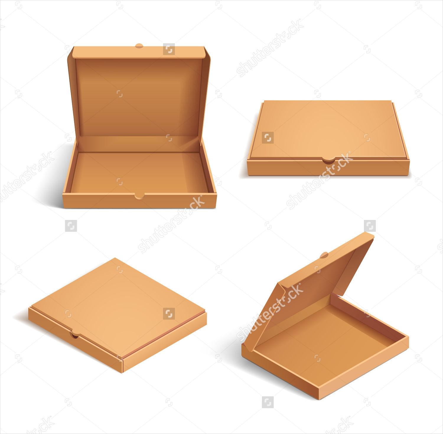 realistic pizza cardboard box package
