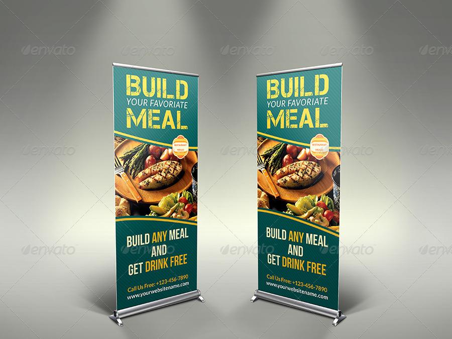 restaurant roll up signage banner