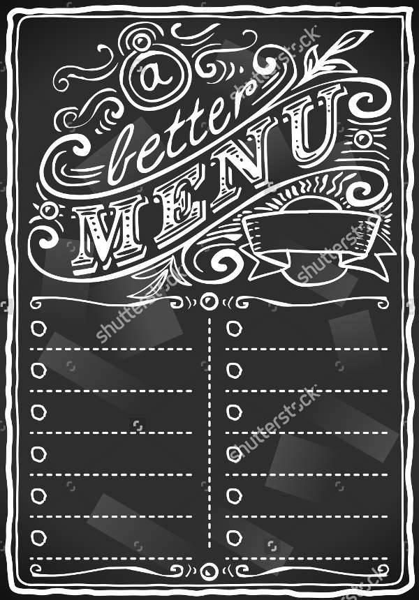 Retro Chalkboard Food Menu