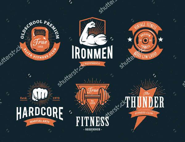 retro fitness logo vector