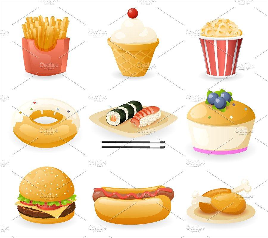 retro food icons