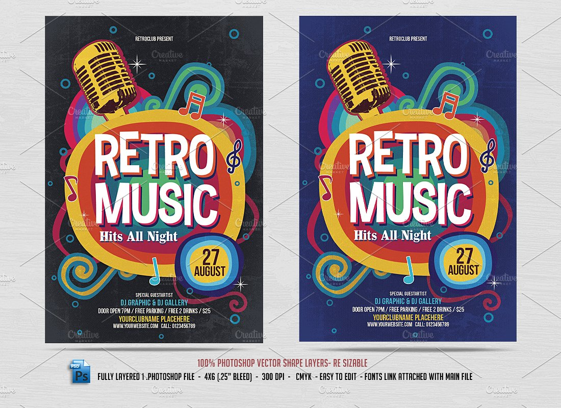 Retro Music Club Party Flyer