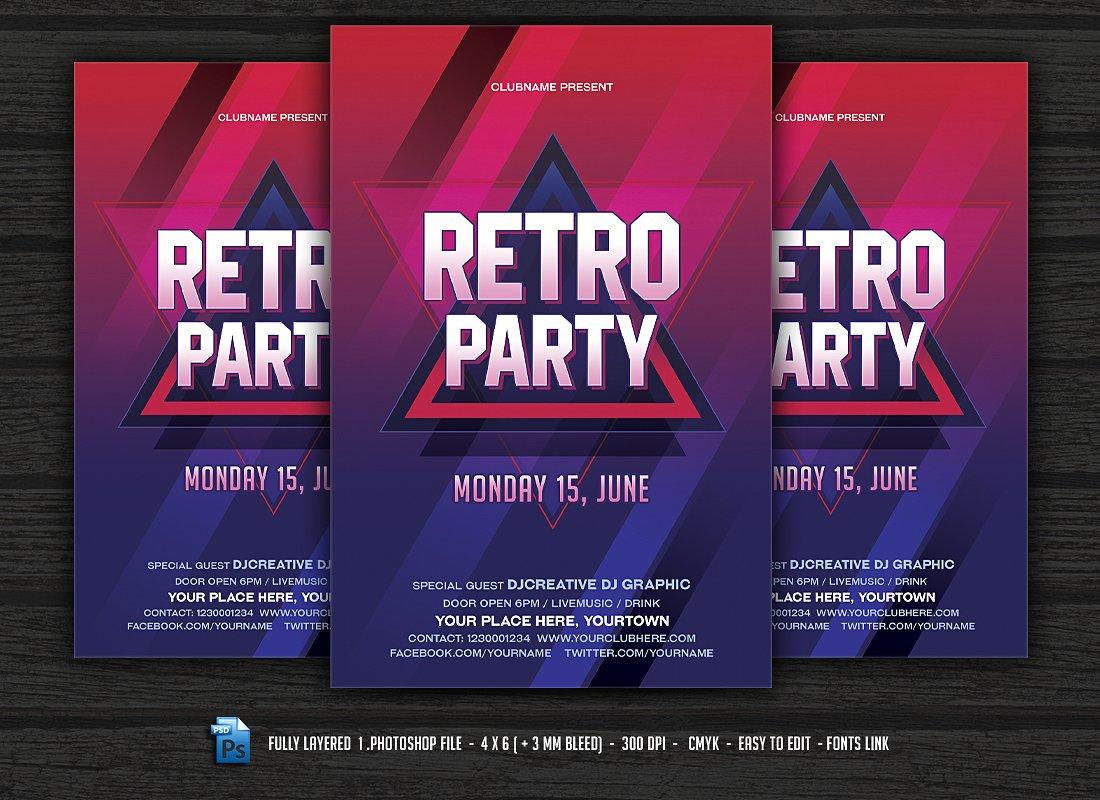 Retro Party Flyer Design