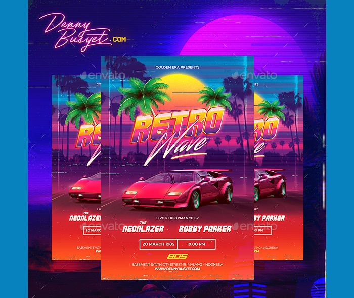 Retro Wave 80's Synthwave Flyer
