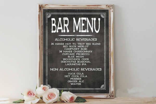 Rustic Chalkboard Bar Menu