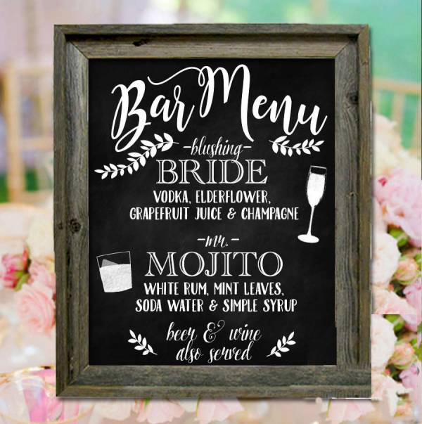 Rustic Chalkboard Wedding Menu