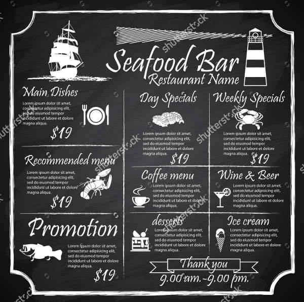 Seafood Chalkboard Menu