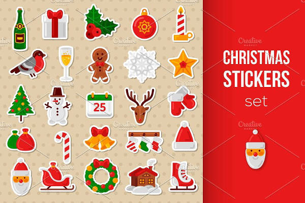 set of christmas sticker