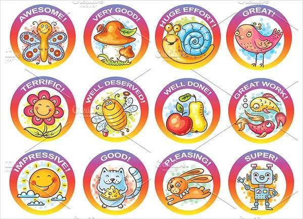 set of colorful round stickers