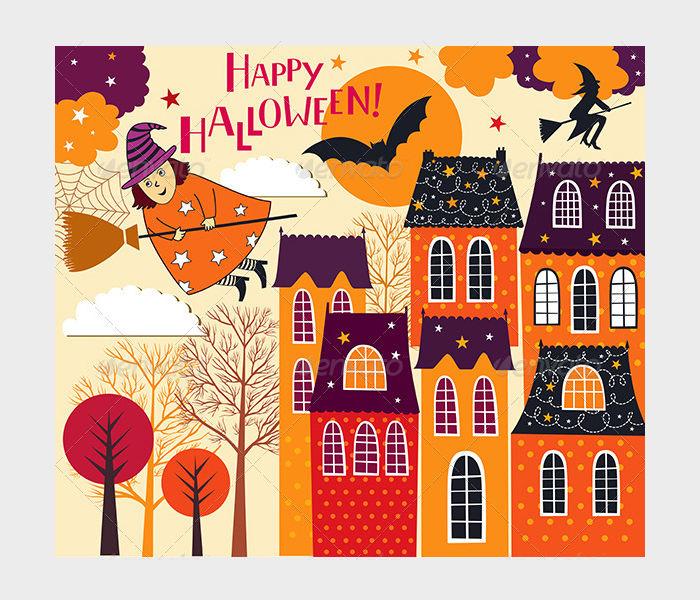 Set of Halloween Holiday Card