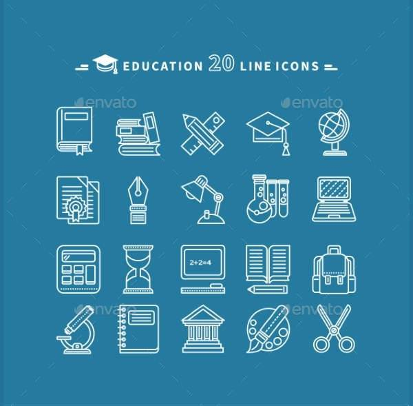Set of Line Education Icons