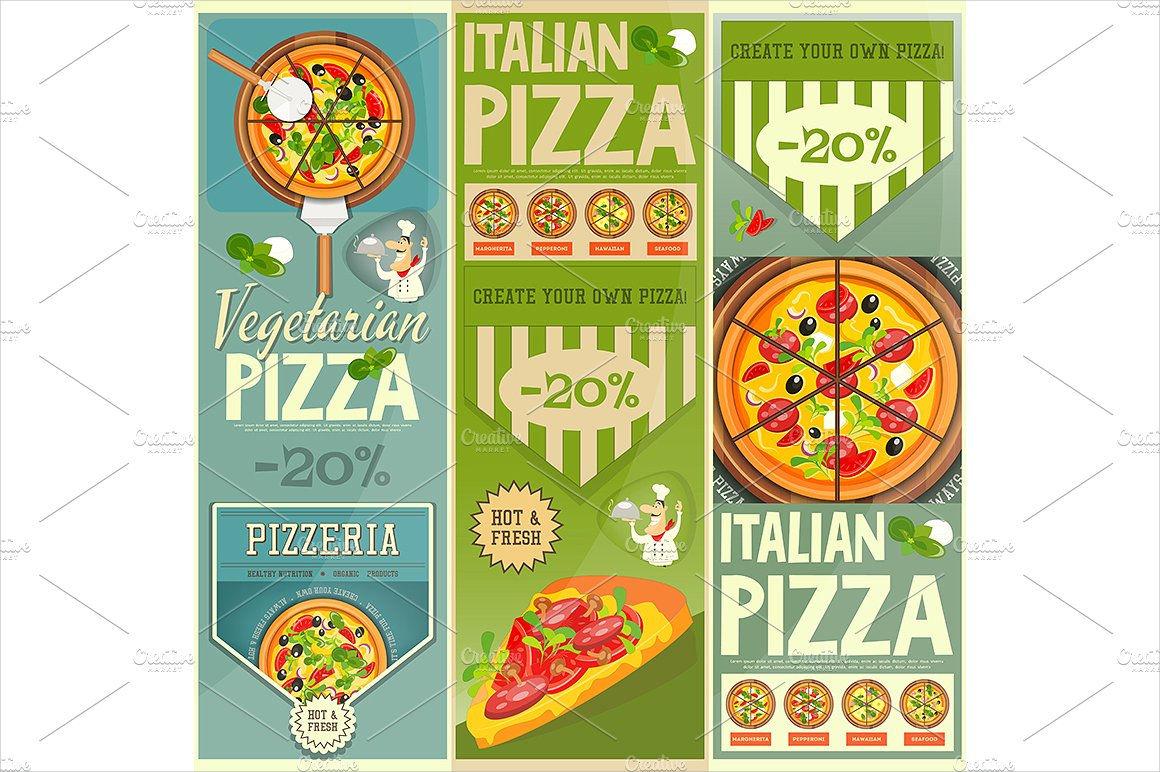 set of pizza menu banner
