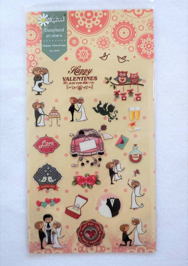 set of valentines and wedding stickers