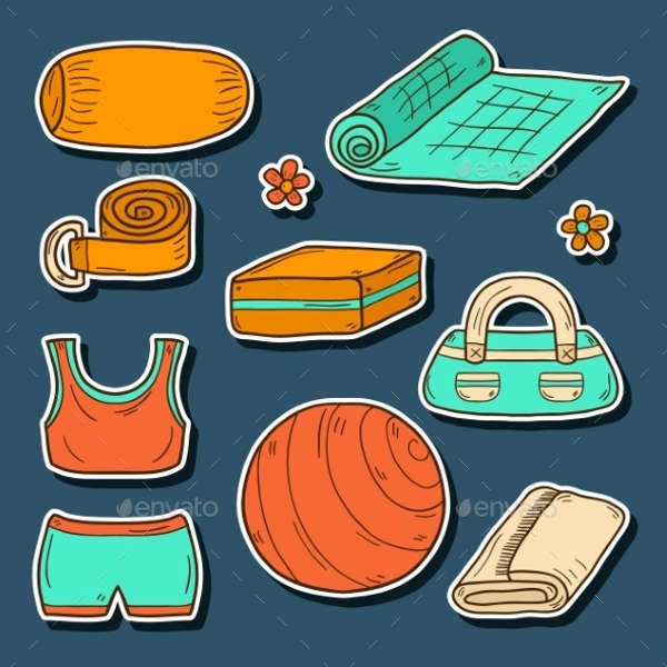 set of yoga equipment icons
