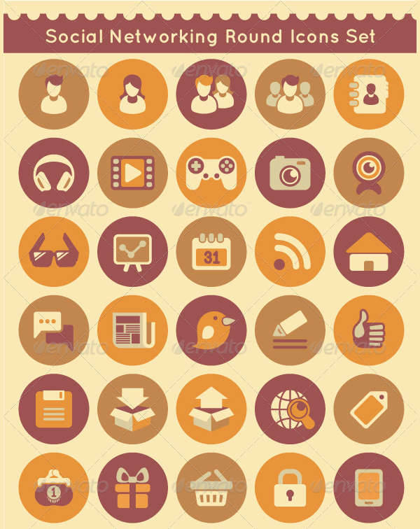 social networking round icons