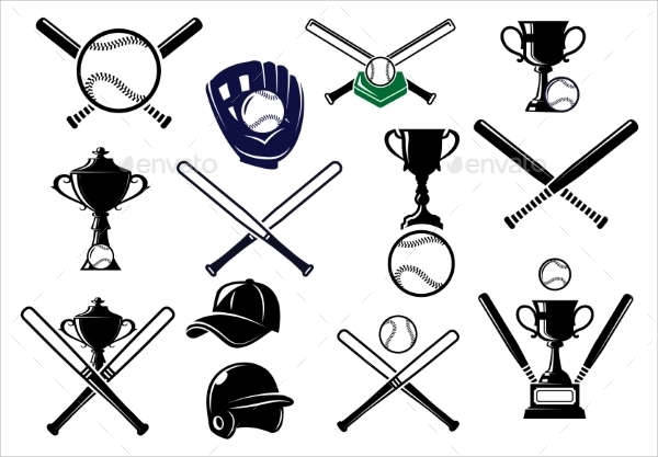 sports equipment logo set