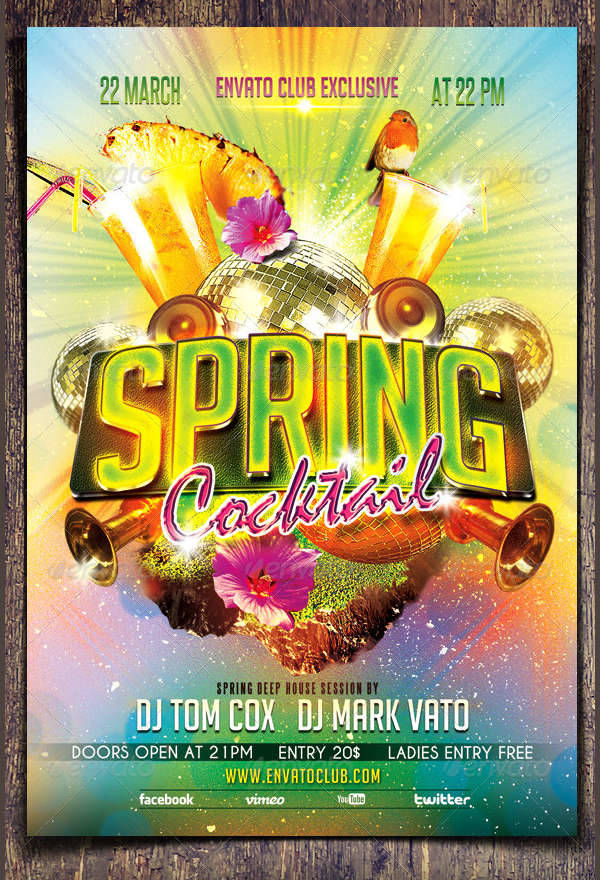 Spring Cocktail Party Flyer
