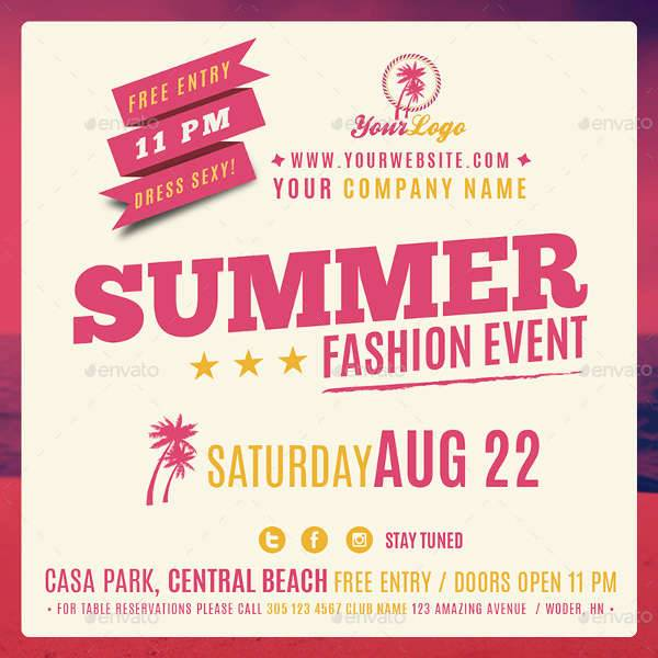 Summer Fashion Event Facebook Banner