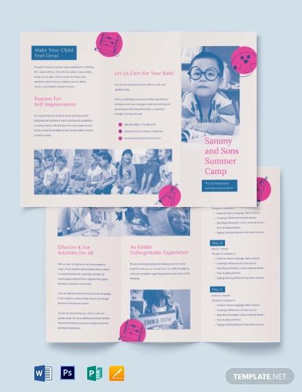 summer school tri fold brochure template