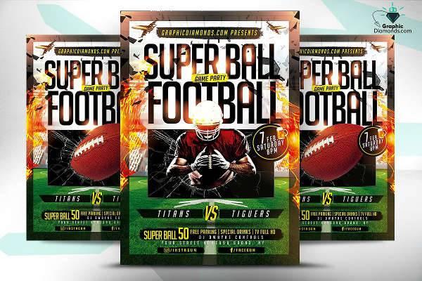super ball football game flyer