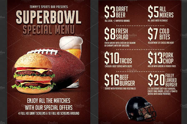 Super Bowl Food Menu Flyer