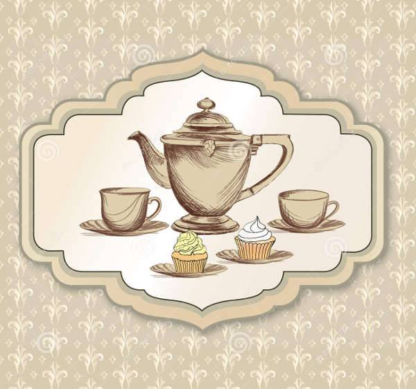 Tea Time Vintage Illustration