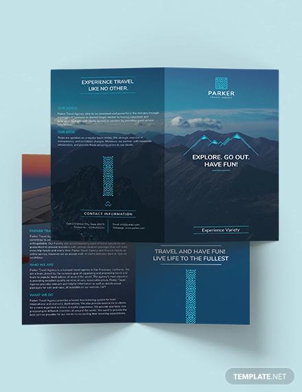 travel agency bi fold brochure template