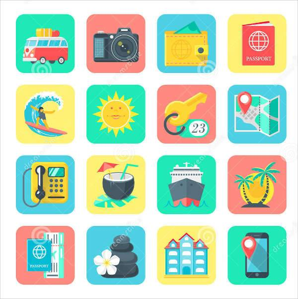 travel holiday icons