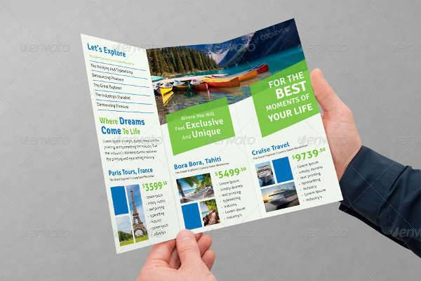 tri fold travel brochure