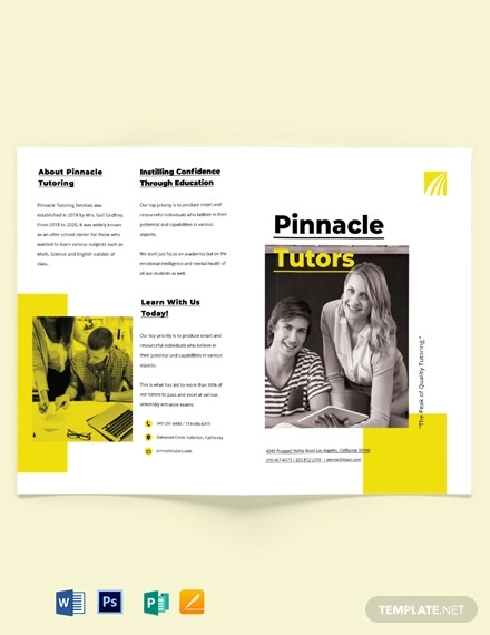 tutoring school bi fold brochure template