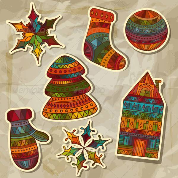 Vector Christmas Stickers Design Elements