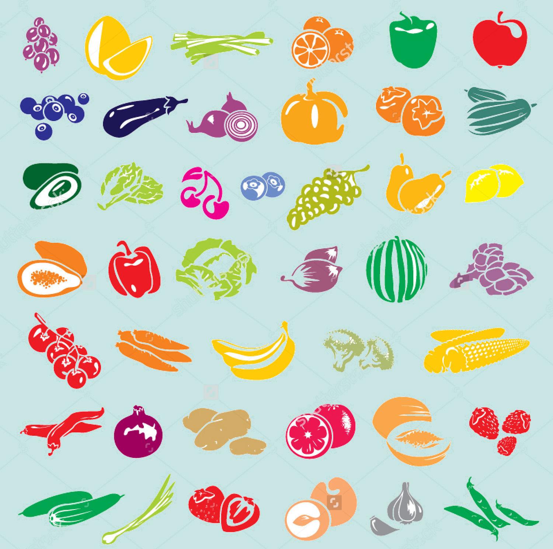 vector fruits vegetables set