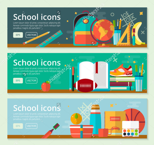 vector school banner set