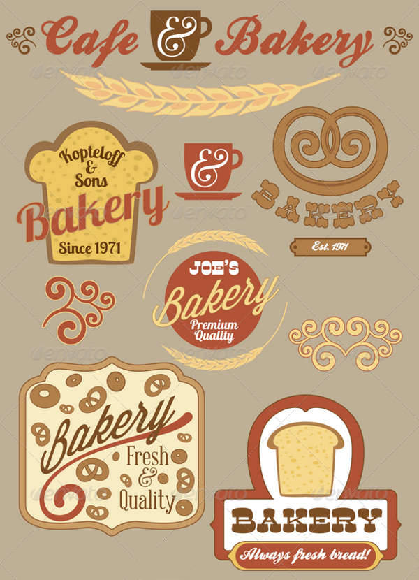 vintage bakery logo badges