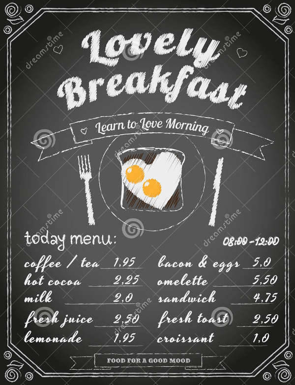 Vintage Chalkboard Breakfast Menu