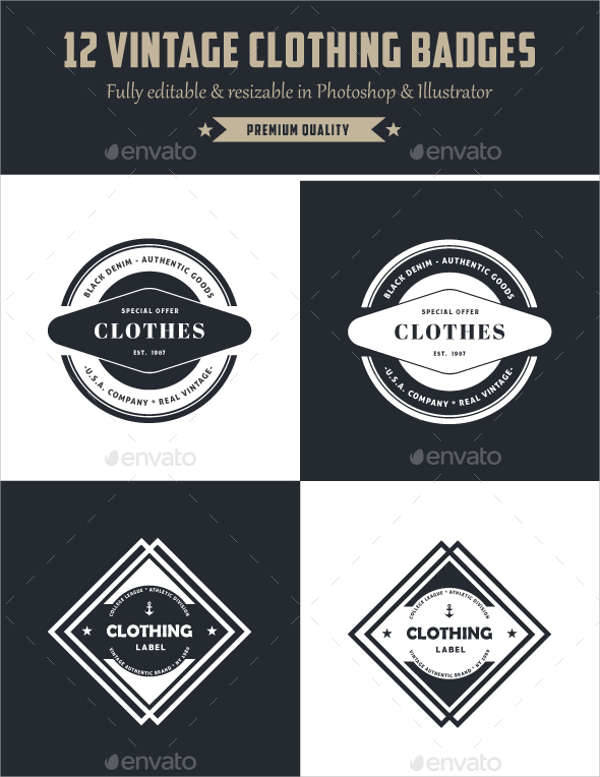 vintage clothing badges logo