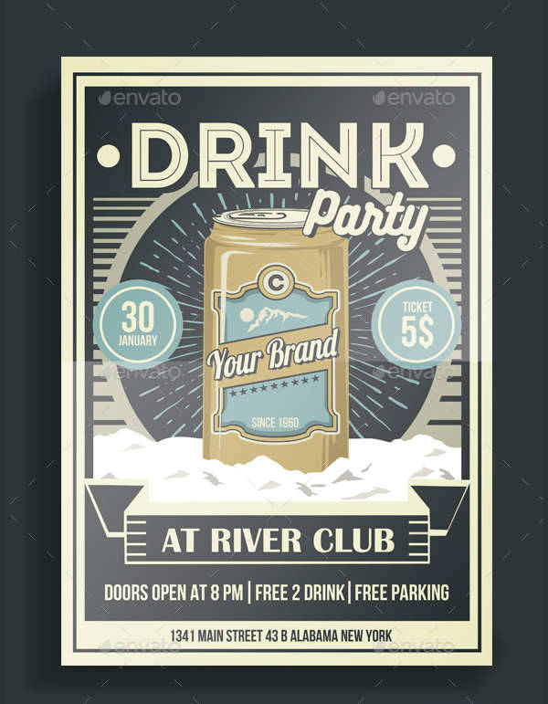 Vintage Drink Party Flyer