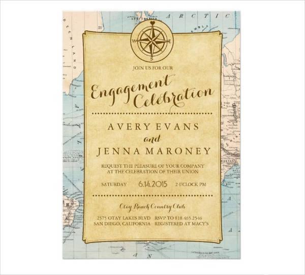 Vintage Engagement Invitation Card