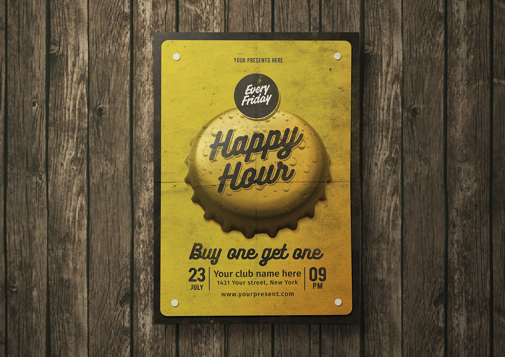 Vintage Happy Hours Flyer