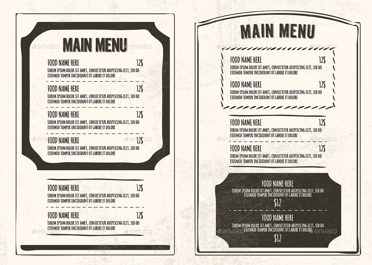 vintage restaurant menu package
