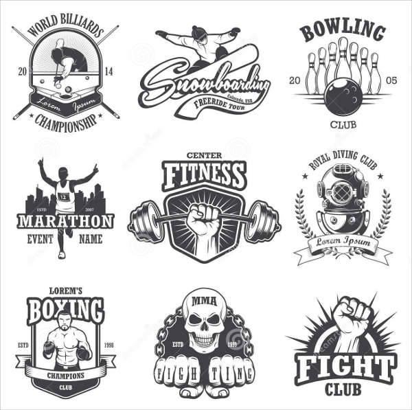 vintage sports badges logos