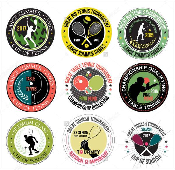 vintage sports logo labels set