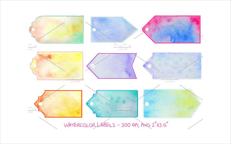 watercolor labels gift tags