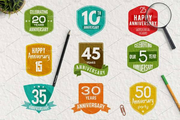 Wedding Anniversary Logo Set