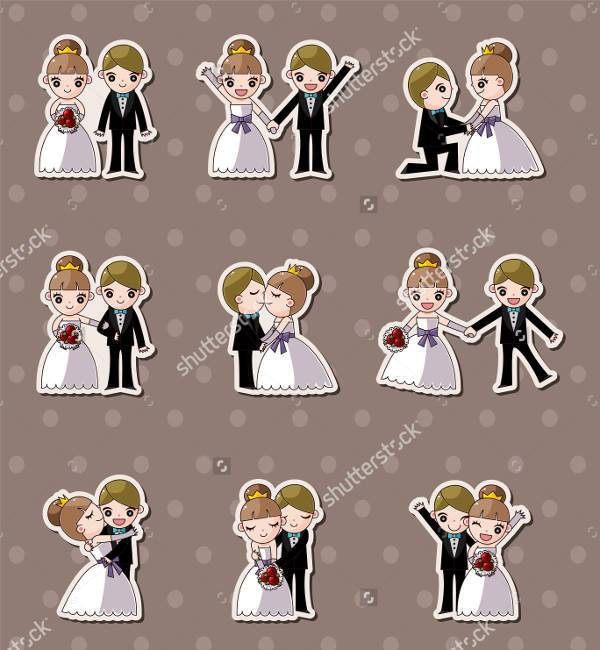 wedding bride and bridegroom stickers