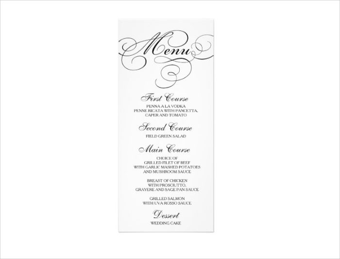 wedding dinner menu card