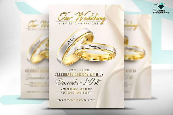 wedding flyer psd template