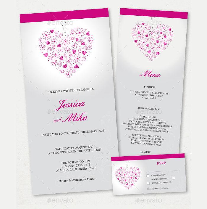 wedding menu rsvp card set