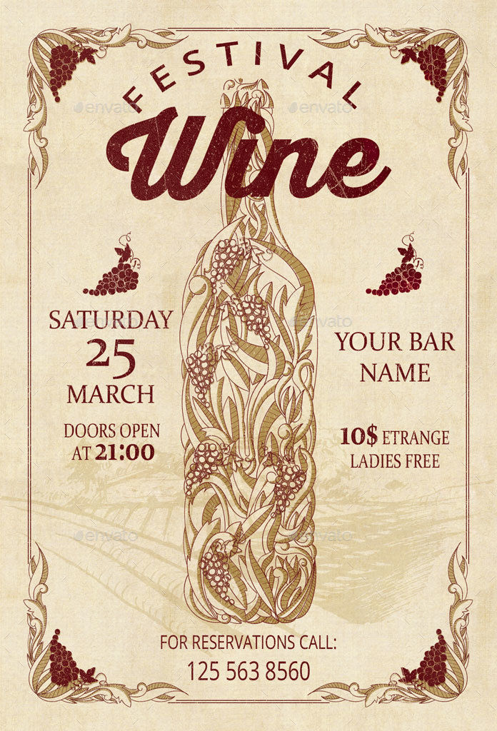 Wine Festival Retro Vintage Flyer